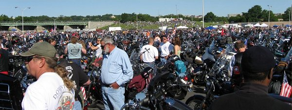 This is just ONE corner of ONE huge parking lot at the Pentagon.  Over 400,000 bikes were there.