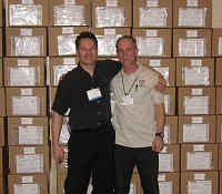 James Karson (organizer of the event) and Marty with the 100 completed boxes.